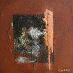 Kupferberg, Acryl und Rost auf Metallplatte, 30x30 vergeben