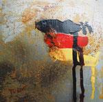 schwarz-rot-gold, Mischtechnik auf Metallplatte, 30x30 cm, mit Rahmen 50x50 cm 180 vergeben