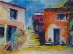 Studie Haus im Süden I , Aquarell 30x40 cm , 130 Euro ohne Rahmen