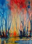 magischer Wald, 56x76 cm auf Papier, 290 Euro mit  Rahmen 60x80 cm