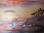Boote im Sonnenaufgang, Amed, Bali, 46x61 cm, 220 Euro ohne Rahmen