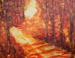 Herbstwald , Acryl auf Holzplatte, 60x80 cm gerahmt weiss 195 Euro