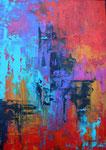 Magie der Farben, Acryl auf Holzplatte 70x100 cm in schwarzem Holzrahmen 190 Euro