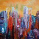 Skyline. Acryl Collage auf Keilrahmen 80x80 cm 320 Euro