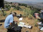 Tom malt die Dorfansicht von Ahlada