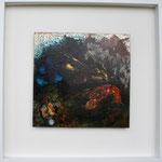 Aqua, Mischtechnik auf Eisenplatte, 30x30 cm, in Holzrahmen 50x50 cm vergeben