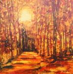 Waldstimmung, Acryl auf Holzplatte, 50x50cm weiss gerahmt 170 Euro