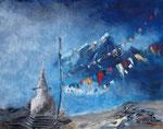 Ladakh Gebetsfahnen, Acryl und Öl auf Keilr. 250 Euro