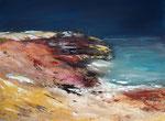 Fels-Sand-Wasser, Acryl auf Keilr. 60x80, Kursarbeit b. Klimmer vergeben