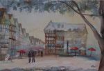 Herborn, Marktplatz, Aquarell, 36x51 cm, 150 Euro ohne Rahmen