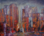 Summer in the City, Acryl-Collage auf Keilrahmen 80x100 cm, 250 Euro