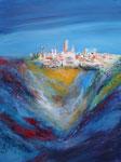 San Gimignano, Acryl auf Aquarellpapier, 56x76 cm ohne Rahmen 1650 Euro, mit Rahmen 210 Euro