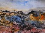 Häuser in karger Landschaft, Mischtechnik auf Papier, 28x35 cm, Kursarbeit B. Klimmer  ungerahmt 50 Euro