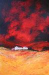 flammender Himmel, Acryl auf Aquarellpapier, 56x76 cm, Kursarbeit B. Klimmer ungerahmt 160 Euro