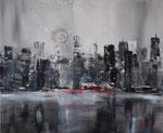 Skyline schwarz-weiss, Acryl auf Keilrahmen, 50x60 cm, 130 Euro
