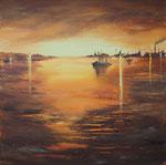Sonnenuntergang am Hafen, Acryl auf Keilrahmen, 80x80 cm, 250 Euro