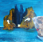 Böcklin Island one way, Acryl auf Keilr. 80x80 cm, 330 Euro