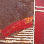 Rot III, Acryl und Rost auf Eisenplatte, 30x30 70 Euro