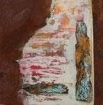 Baumrinde meets Rost II, Kollage mit Rost und Acrylauf Eisenplatte, 30x30, Kursarbeit B. Klimmer 70 Euro