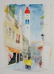Korfu Stadt, Aquarell, 31x41 60 Euro unge..