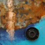 nichts bleibt wie es ist, Acryl und Metallobjekt auf Eisenplatte, 25x25 25 Euro