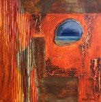 blauer Mond über der Stadt, Acryl auf Holzplatte, 40x40, 80 Euro
