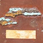 Baumrinde meets Rost I,  Kollage mit Rost und Acryl auf Eisenplatte, 30x30, Kursarbeit B. Klimmer, 70 Euro