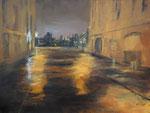 Straße im Regen, Acryl 60x80 cm, Kursarbeit B. KLimmer 230 Euro
