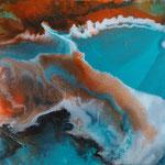 Ocean sundown I, Resin und Acrylfarbe auf Keilrahmen 40x40 cm, 110 Euro