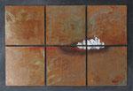 Dem Morgengraun entgegen, 6 Metallplatten 30x30 cm montiert auf Träger 71x102 cm, vergeben