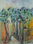 Allee in der Toskana, Aquarell 46x61 cm, 160 Euro ohne Rahmen