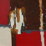 Rot I, Acryl und Rost auf Eisenplatte, 30x30, Kursarbeit B. Klimmer 70 Euro