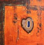 steinernes Herz, Acryl auf Holzplatte, 40x40 80 Euro