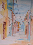 Gasse in Heraklion, Aquarell  31x41, Elvira Walther