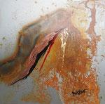 Goldader Mischtechnik auf Metall 30x30 cm, mit Rahmen 50x50 cm 180 Euro