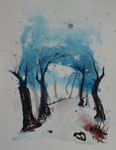 Bachlauf im Winter, Aquarell, 31x41, 70 Euro unger.