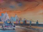 Malecon, Havanna am Abend,  45x61 cm 220 Euro ungerahmt