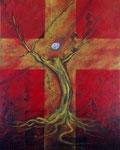 『祈り』  2012 F30(91.0×72.7cm) キャンバス.アクリル.モデリングペースト.砂.藁.金粉