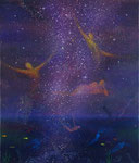 『星影』  2012   F10(53.0×45.5cm)  キャンバス.   アクリル.   モデリングペースト.   砂.   藁