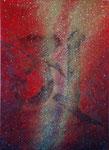 『救済』   2011  P20(72.7×53.0 cm) キャンバス.   アクリル.   モデリングペースト.   砂.   藁.   金粉