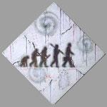 『進化しないハート』 2014  S3号(27.3×27.3cm) パーティクルボード.アクリル.モデリングペースト.砂.藁.油性ペン          個人蔵 (アメリカ)