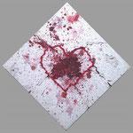 『Heart』   2014  S3号(27.3×27.3cm) パーティクルボード.アクリル.モデリングペースト.砂.藁.
