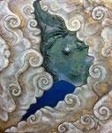 『FUJIYAMA 』  2014   F10(53.0×45.5cm)  キャンバス.アクリル.モデリングペースト.金粉.砂.藁        所蔵 ロイヤルパークホテル ザ 羽田 (東京)