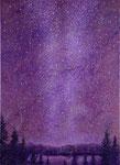 『天の川.1 』   2011  P20(72.7×53.0 cm) キャンバス.アクリル.モデリングペースト.砂.藁.金粉