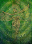 『神』  2011  P20(72.7×53.0 cm) キャンバス.   アクリル.   モデリングペースト.   砂.   藁.   金粉