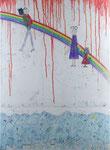 『虹の彼方に』  2011  P20(72.7×53.0 cm) キャンバス.   アクリル.   モデリングペースト.   砂.   藁.   油性ペン