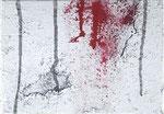 『選択』  2012   サムホール(15.8×22.7cm)  キャンバス.   アクリル.   モデリングペースト.   砂.   藁       個人蔵(ドイツ)