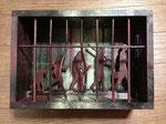 『人からヒトへの脱走』 2014 サムホール(22.7×15.8) ラワン材.アクリル.スチロール板.アクリル棒.アルミ棒  第10回西脇市サムホール大賞展入選 (審査員=横尾忠則. 椹木野衣)