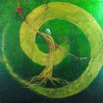 『人間の条件』  2012  S30(91.0×91.0cm) キャンバス.アクリル.モデリングペースト.砂.藁.金粉