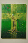『人間』  2012  P20(72.7×53.0 cm) キャンバス.アクリル.   モデリングペースト.   砂.   藁.   金粉